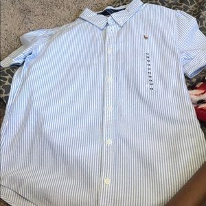 Ralph Lauren button down top baby blue and white